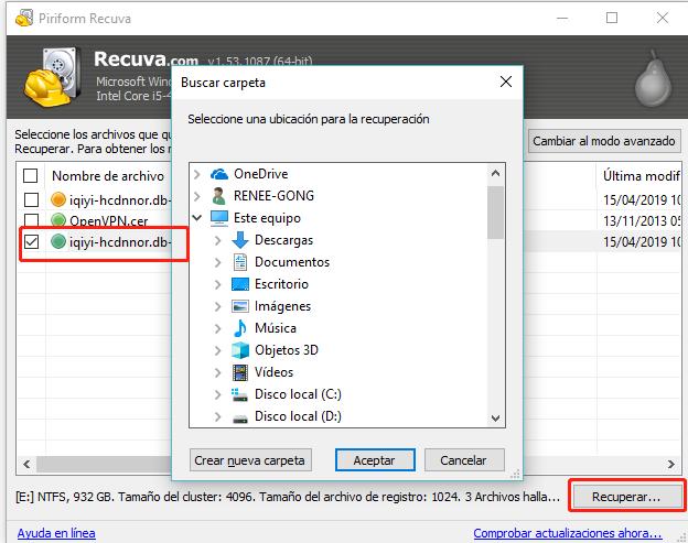 recuperar los datos perdidos de la tarjeta SD con Recuva