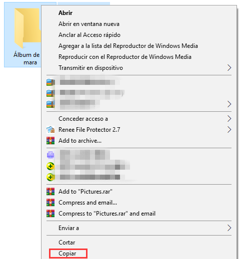 copiar datos en Windows