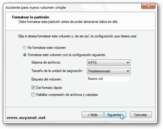 seleccionar un sistema de archivos apropiado