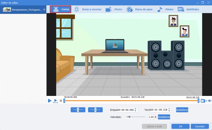la función cortar en video editor pro