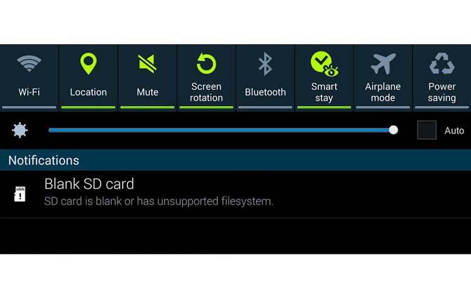 Tarjeta SD en blanco o su sistema de archivos incompatible