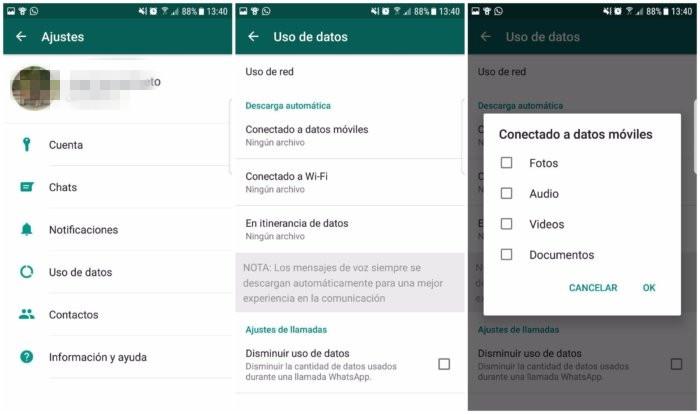 Guardar fotos de WhatsApp en tarjeta SD