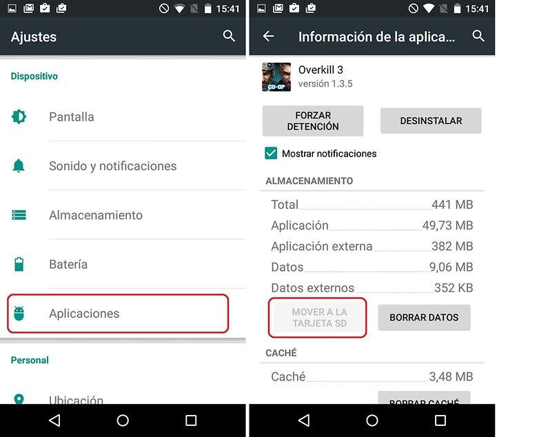 mover aplicaciones en Samsung