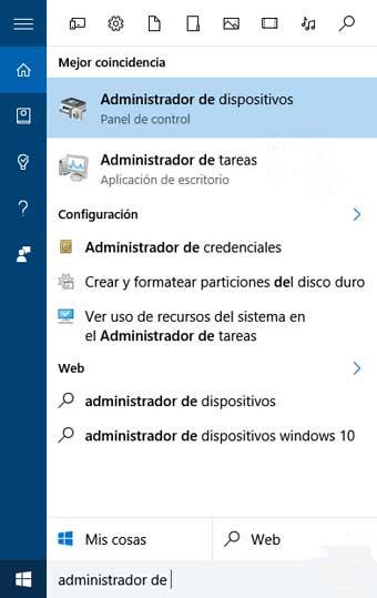 buscar administrador de dispositivos