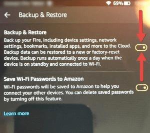 Establecer copia de seguridad automática en Kindle Fire