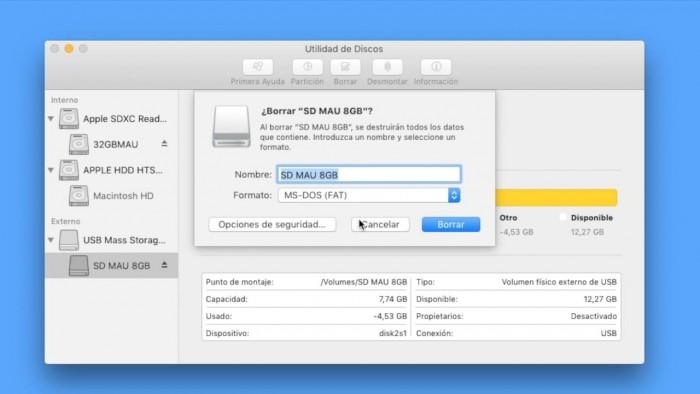 formatear USB en Mac OS