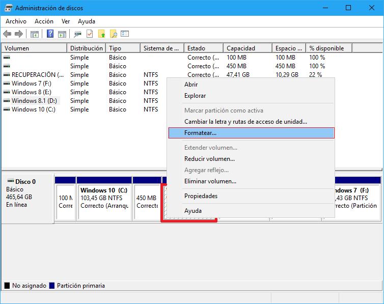 formatear tarjeta SD en windows