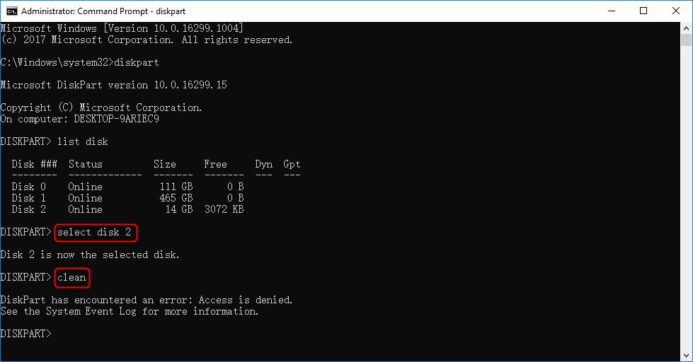 """Utilizar el comando diskpart para Reparar el error """"Chkdsk no está disponible para unidades raw"""" de la tarjeta SD"""
