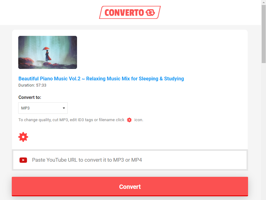 convertir youtube a mp3 con Converto Online