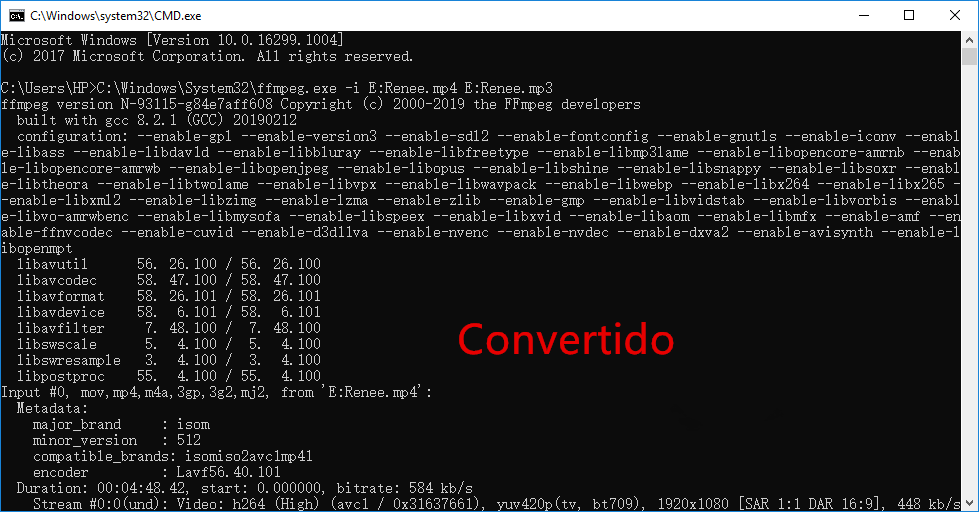 convertir youtube a mp3 comando FFmpeg