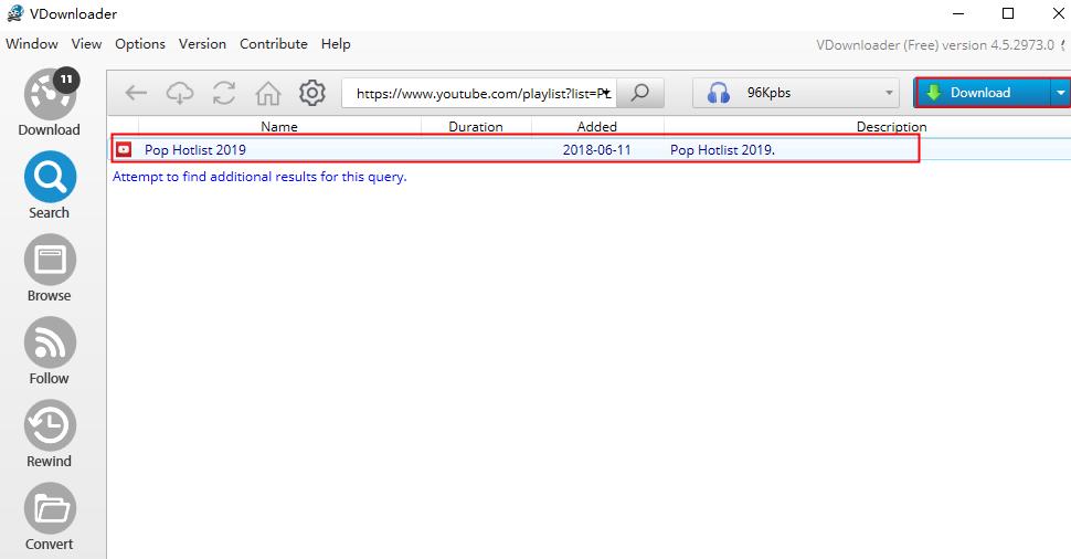 descargar la lista de reproducción de YouTube en MP3 con VDownloader
