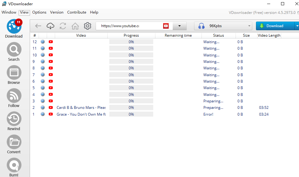 descargar la lista de reproducción de YouTube en MP3 con VDownloader
