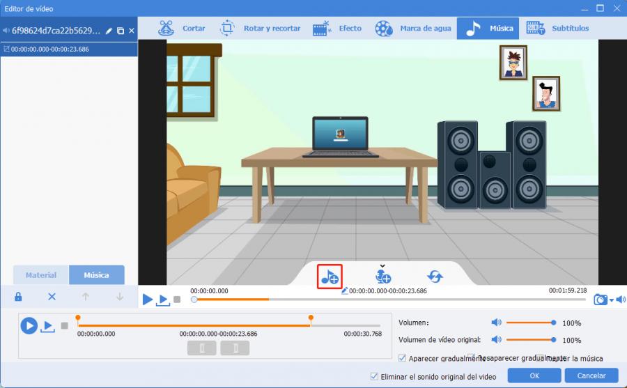 ajustes de música en renee video editor