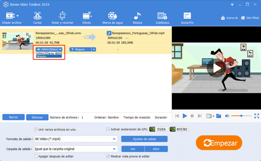 convertir MP3 a MP4 con renee video editor pro