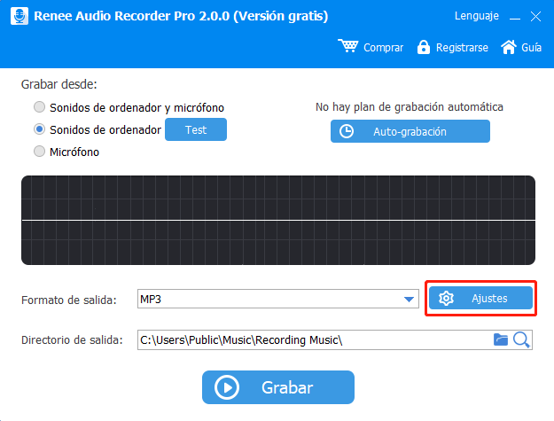 convertir música de YouTube a 320KBPS MP3 con renee audio recorder