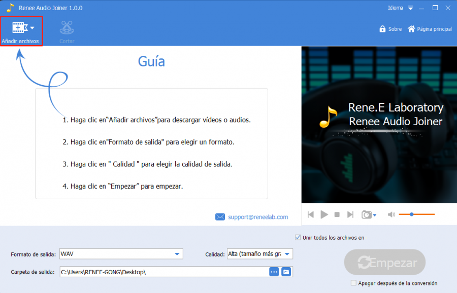 unir varios archivos MP3 con renee audio tools