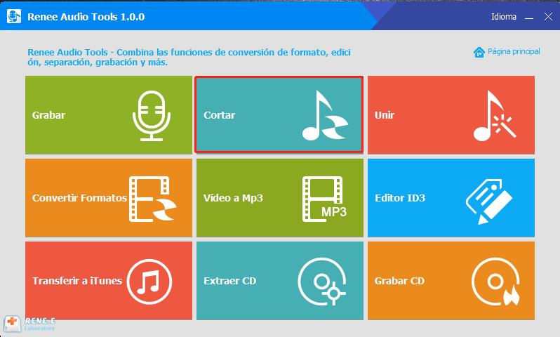 función cortar de renee audio tools