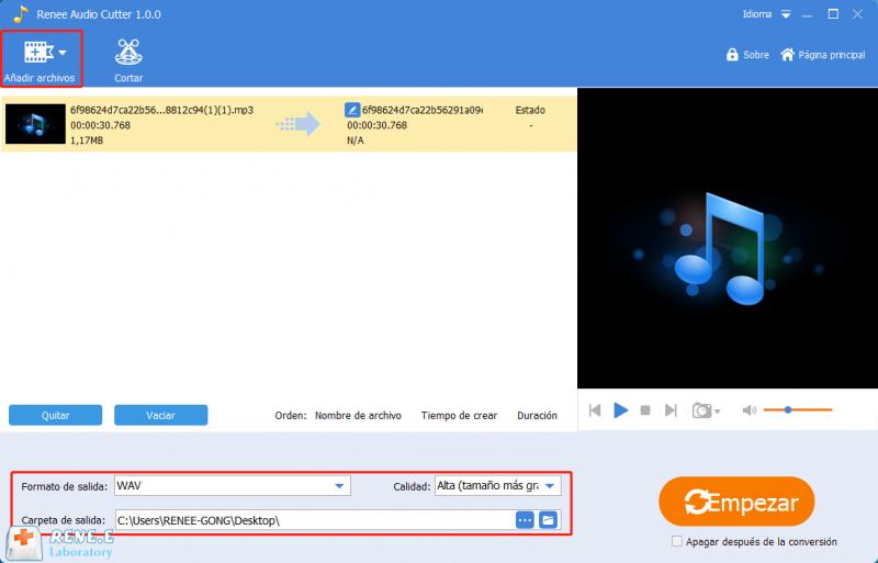 renee audio tools:aplicacion para cortar musica