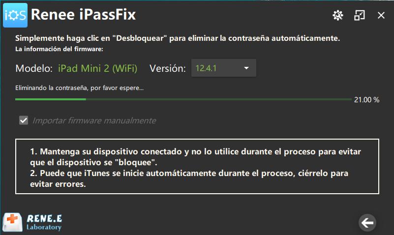 iPassFix eliminar contraseña