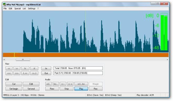 mp3DirectCut: Programa gratuito para editar MP3 en Windows