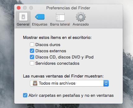 """marcar """"Discos externos""""."""