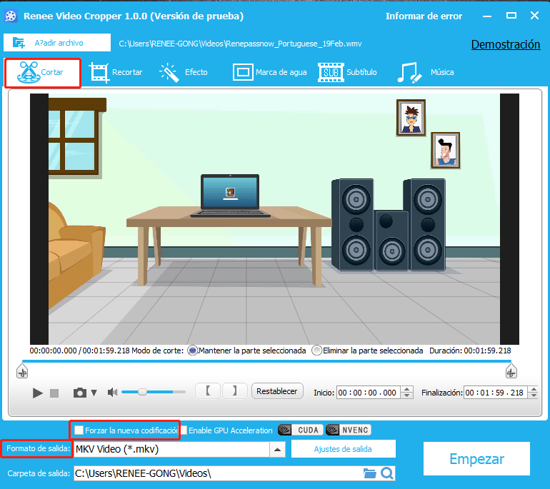 cortar video MKV con renee video editor