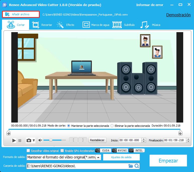 renee video editor: programa para cortar videos
