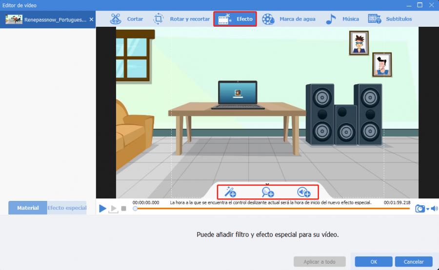 la función efectos de Renee video editor pro