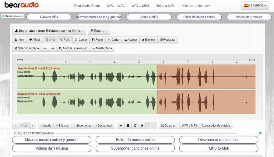 cortar canciones online con Bearaudio
