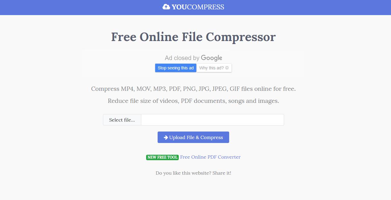 comprimir audio con YouCompress