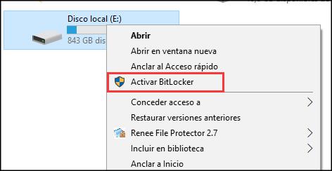 seleccionar activar BitLocker