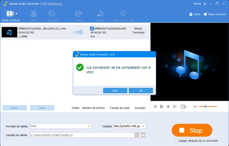 convertido m4a a wav con renee audio tools