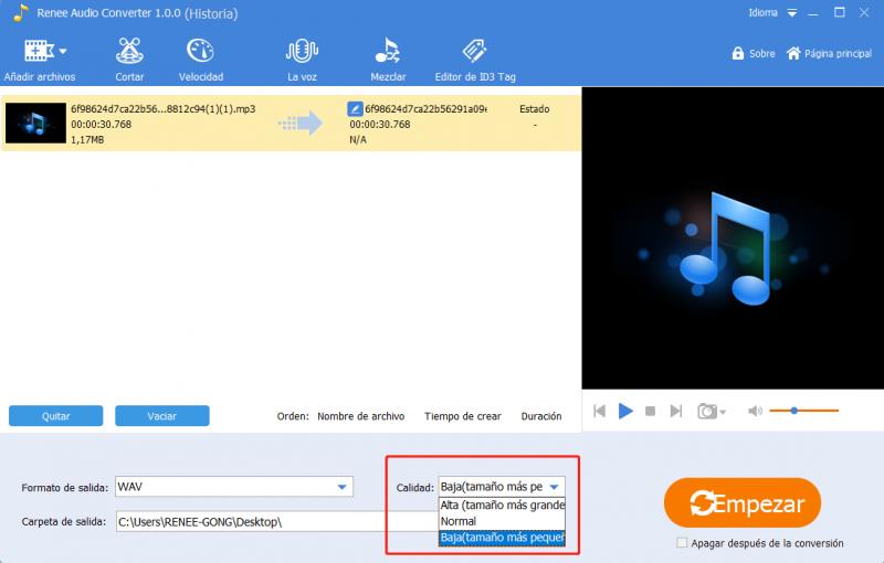 comprimir audio con renee audio tools