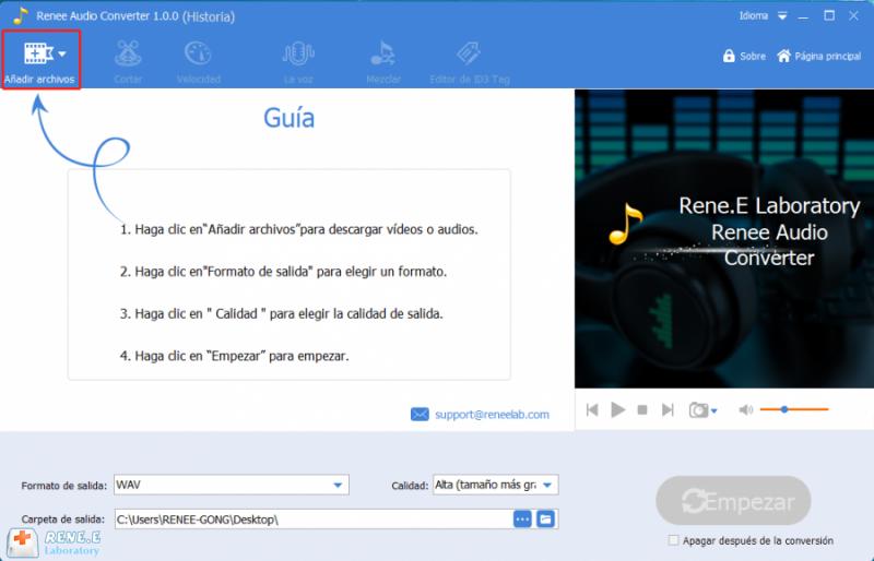 convertir m4a a wav con renee audio tools