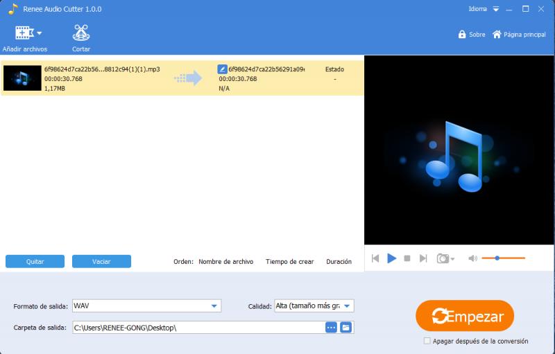 Añadir archivo a renee audio tools
