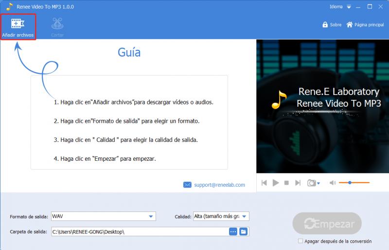 Convertir video a MP3 con renee audio tools