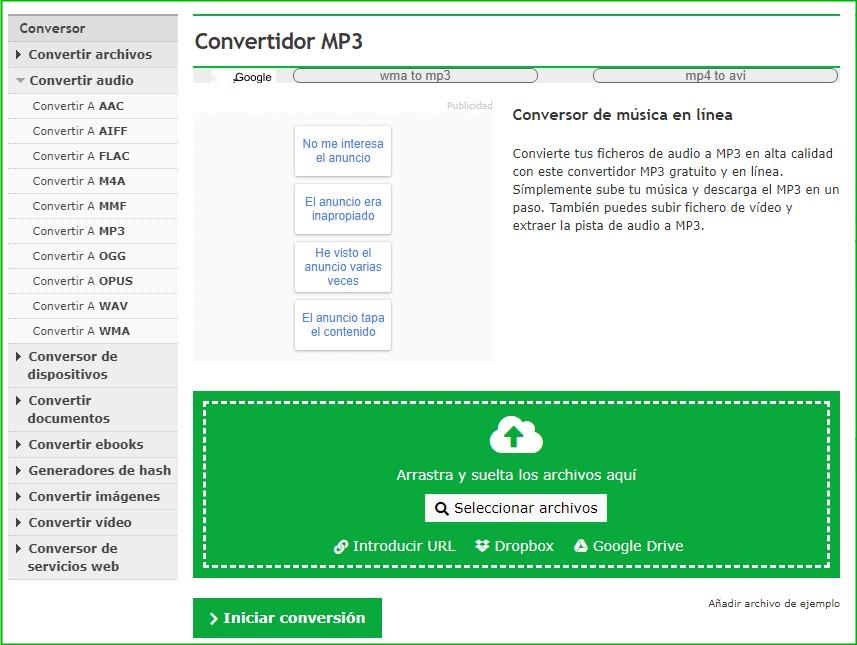 convertir WMA a MP3 en sitio web