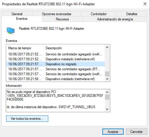 error del dispositivo no migrado0xc0000719