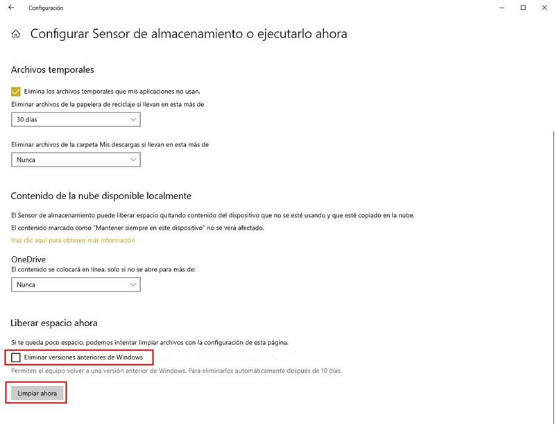 Eliminar Windows.old mediante Windows Disk Cleanup