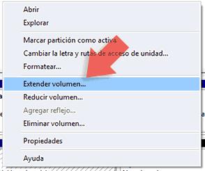 extender volumen del disco C