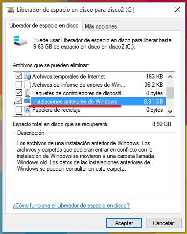 seleccionar instalación anteriores de windows