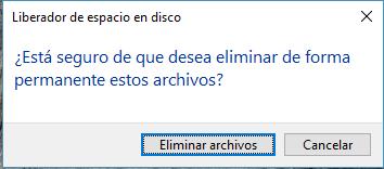 confirmar borrar archivos temporales en Windows 10 o Windows 7