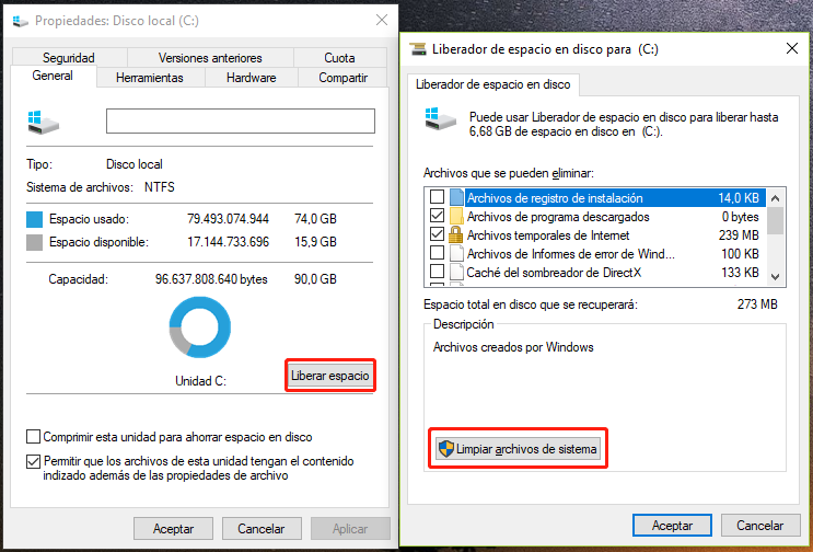 Eliminar Windows.old mediante Windows Disk Cleanup
