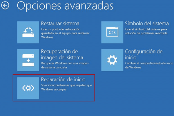 reparación de inicio en windows