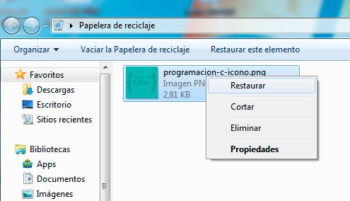recuperar archivos borrados de papelera de reciclaje de Windows