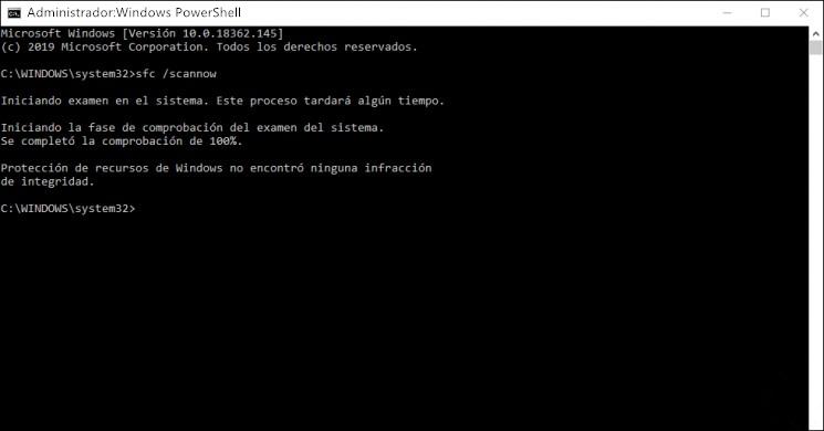 Verificar y reparar archivos de Windows