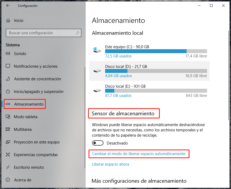 Eliminar Windows.old mediante Sensor de almacenamiento