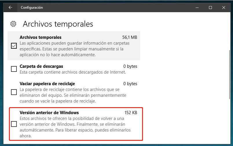 Eliminar Windows.old de los archivos temporales