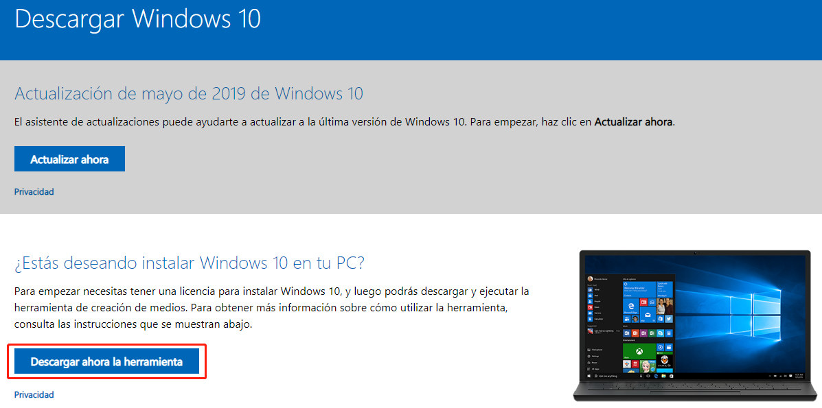 instalar windows 10 desde usb con MediaCreationTool