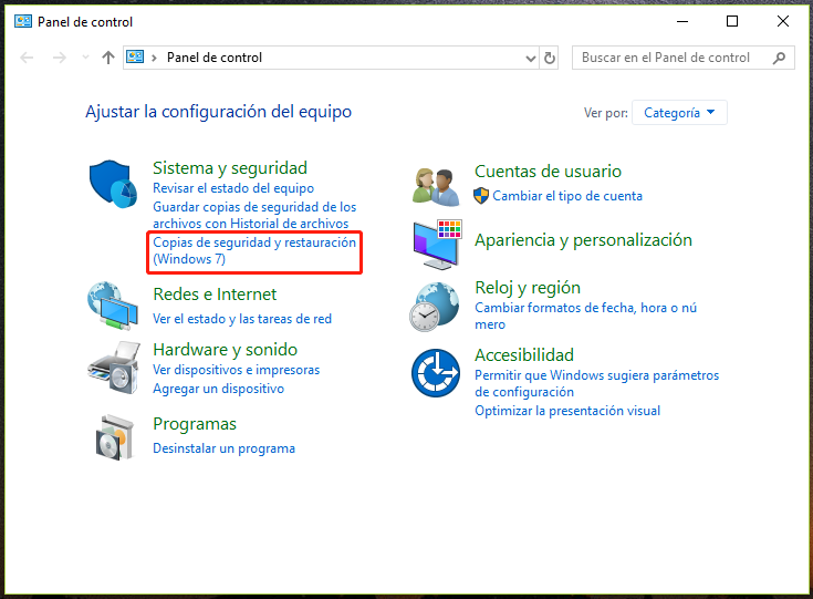 copias de seguridad y restauración(Windows 7)